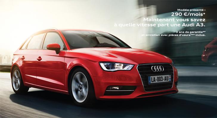 LLD Audi A3 à 290€/mois