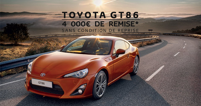Toyota GT86 - 4 000€* de remise - Sans condition de reprise