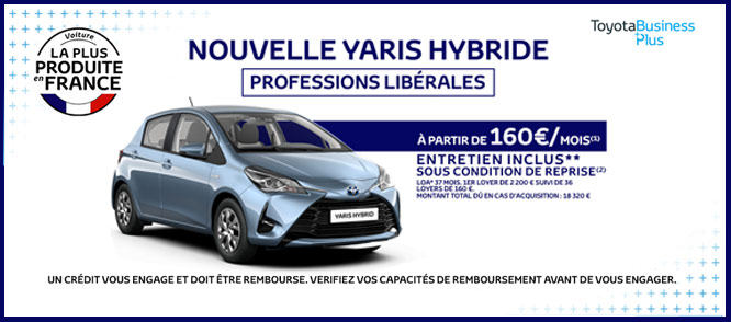 toyota yaris hybride professions lib rales partir de 160 mois. Black Bedroom Furniture Sets. Home Design Ideas