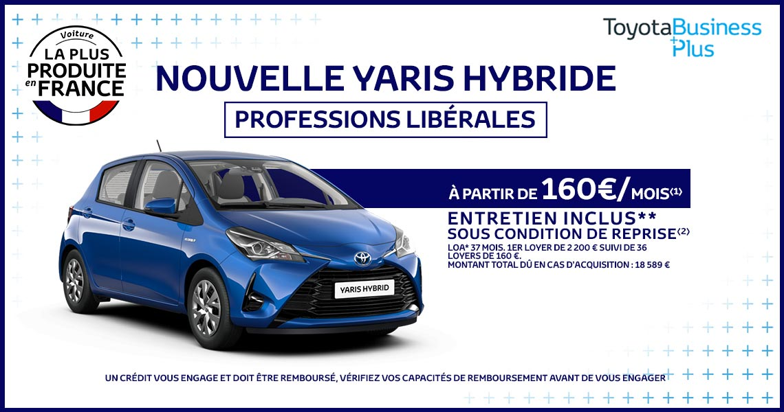 toyota yaris hybride professions lib rales partir de 160 mois promotions chez votre. Black Bedroom Furniture Sets. Home Design Ideas