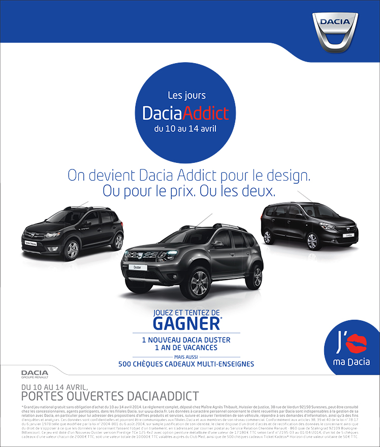dacia addict du 10 au 14 avril dacia chateaudun chateaudun. Black Bedroom Furniture Sets. Home Design Ideas